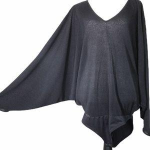 Bodysuit Blouse Bat Wing Stretch Pleated Top Black